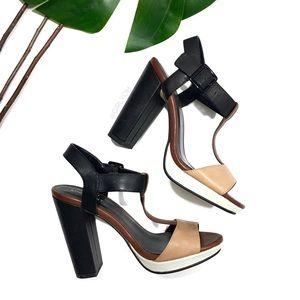 Shoemint Colorblock T Strap High Heel Sandals 6